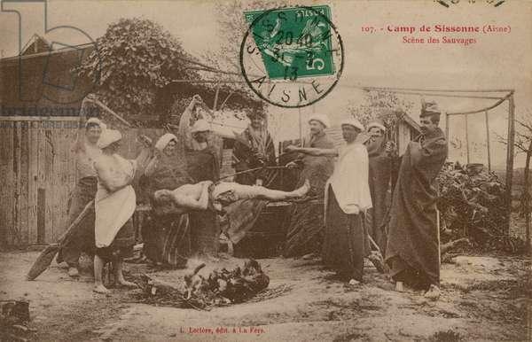 Camp at Sissonne, Aisne, France. Postcard sent in 1913.