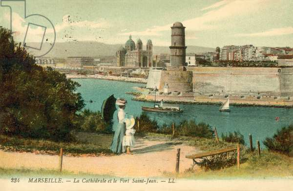 Marseille, La Cathedrale, Le Fort Saint-Jean (colour photo)