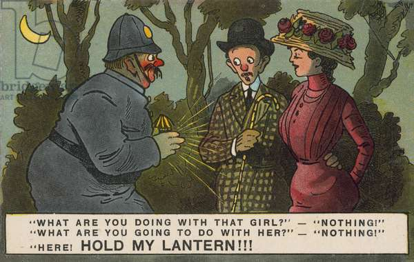 Sexual harrassment: a policeman questioning a couple walking in the park at night (colour litho)