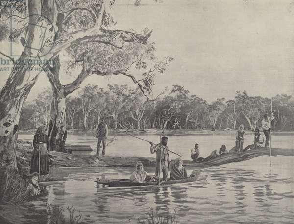 Australian Natives Fishing (b/w photo)