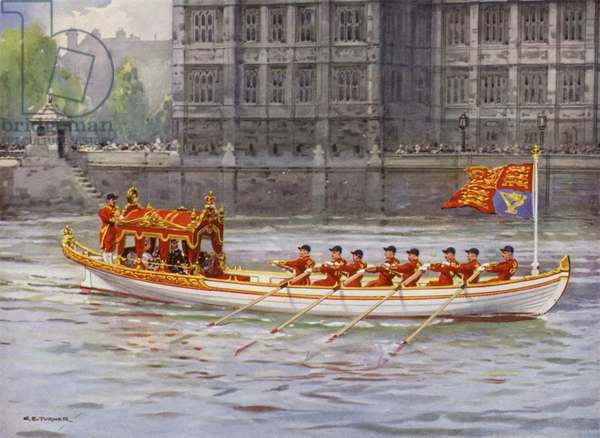 King George V and Queen Mary on board the State Barge on the Thames passing the Palace of Westminster during the King's Silver Jubilee celebrations, London, 1935 (colour litho)
