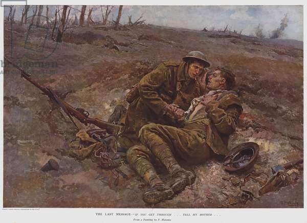 """The last message, """"If you get through … tell my mother …"""" (colour litho)"""
