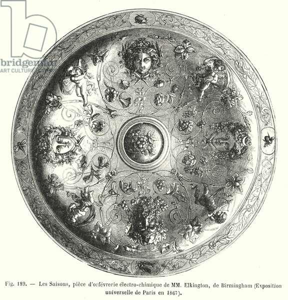 Les Saisons, piece d'orfevrerie electro-chimique de MM Elkington, de Birmingham, Exposition universelle de Paris en 1867 (engraving)