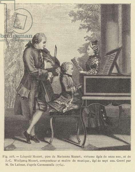 Leopold Mozart, pere de Marianne Mozart, virtuose agee de onze ans, et de J-C Wolfgang Mozart, compositeur et maitre de musique, age de sept ans (engraving)