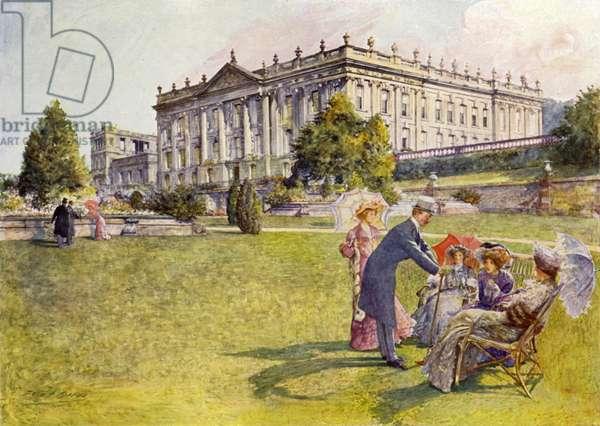 Chatsworth House (colour litho)