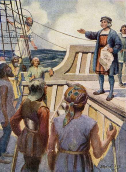 Columbus addressing the Mutineers (colour litho)