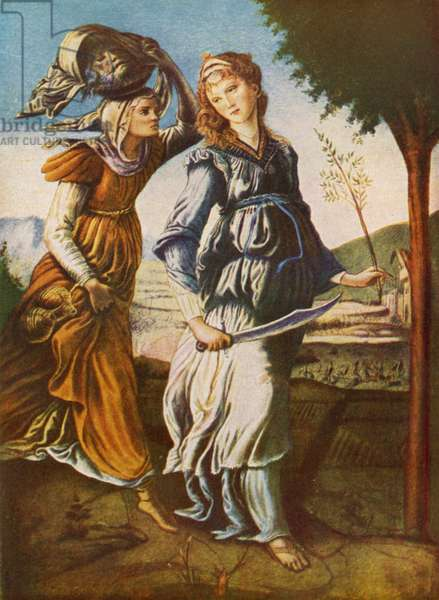 Judith and her servant with the head of Holofernes (colour litho)