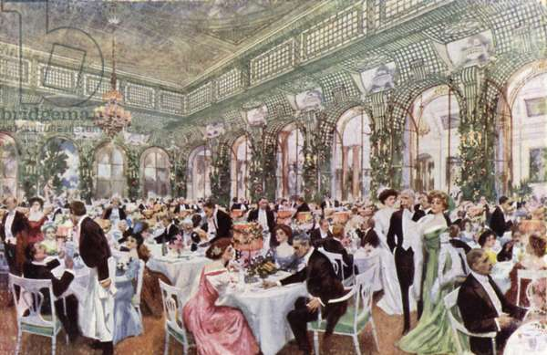 Overflow for supper in The Winter Garden, Savoy Hotel (colour litho)