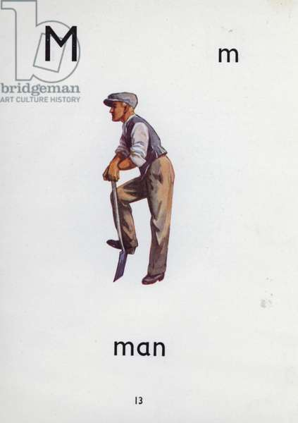 Letter M, man (colour litho)