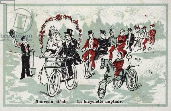 New century - the wedding bicycle (chromolitho)