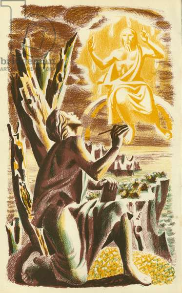 Revelation of St John: John on Patmos (colour litho)