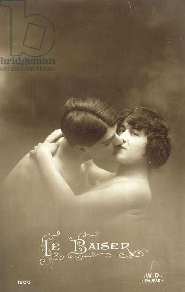 Le Baiser, Kiss, Kissing (b/w photo)