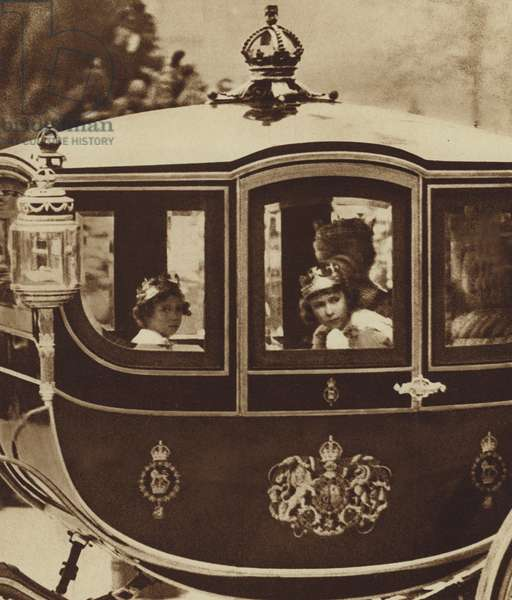 The Princesses Elizabeth and Margaret Rose returning from Westminster Abbey, after their parents' Coronation (b/w photo)