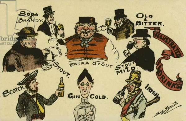 Illustrated drinks (colour litho)