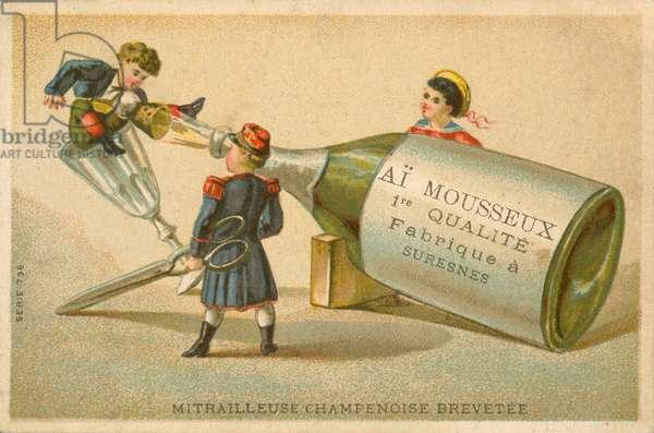 Patented Champagne machine gun (chromolitho)