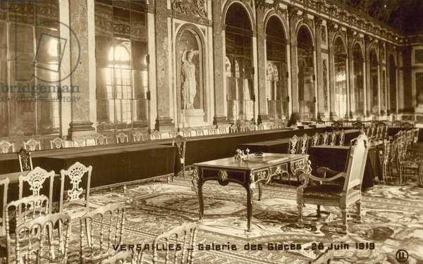Versailles, Galerie Des Glaces, 28 June 1919 (b/w photo)