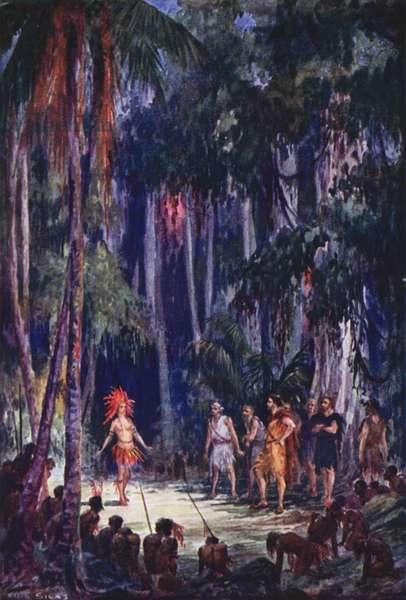 Illustration for Westward Ho! by Charles Kingsley (colour litho)