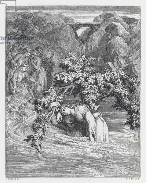 Illustration for Tennyson's poem, The Princess (engraving)