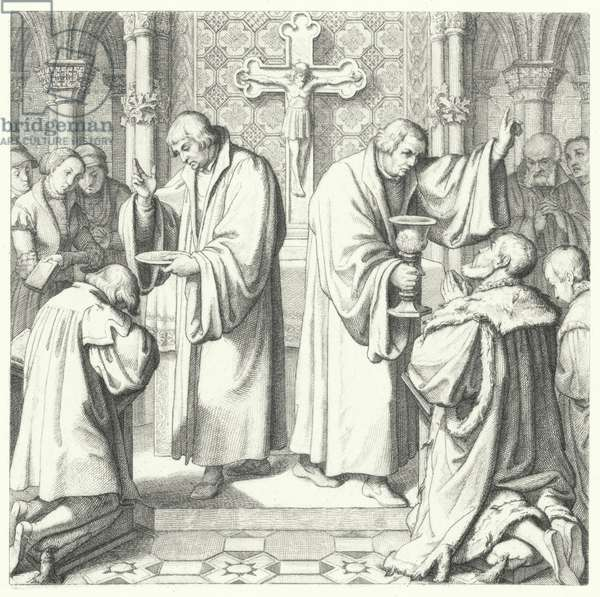 The Holy Communion shown in both Protestant and Catholic forms (engraving)