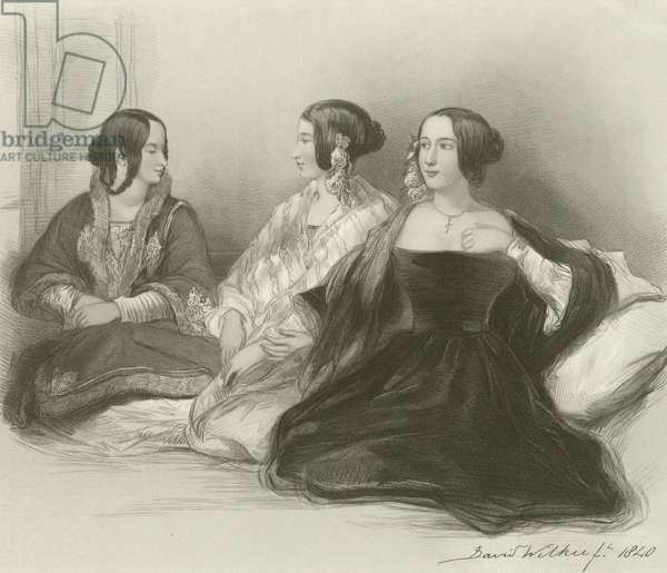 Three Greek Sisters at Therapia (engraving)