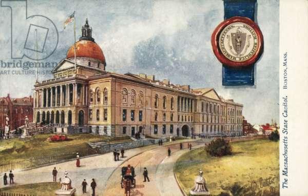 The Massachusetts State Capitol, Boston, Massachusetts (colour litho)