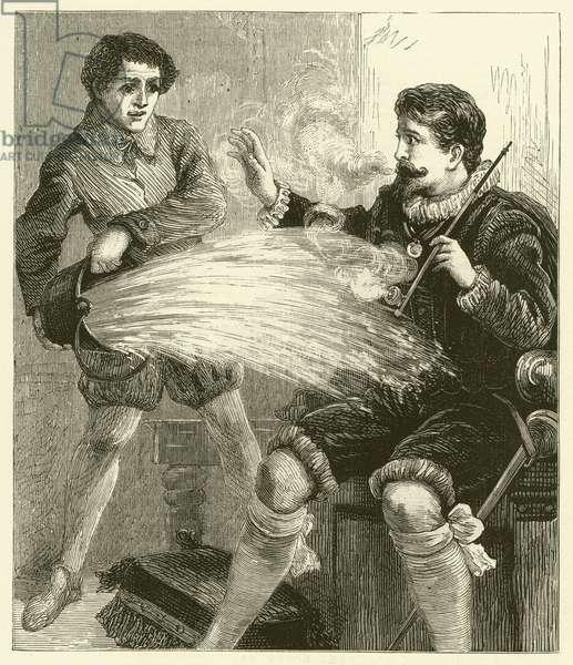 Sir Walter Raleigh smoking (engraving)