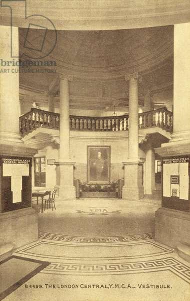 The London Central, YMCA, Vestibule (b/w photo)