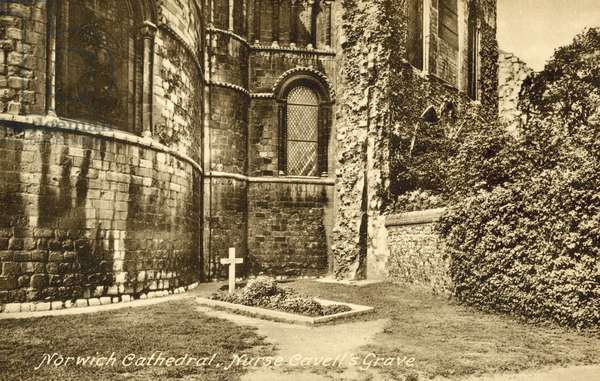 Edith Cavell's grave, Norwich Cathedral, Norfolk (b/w photo)