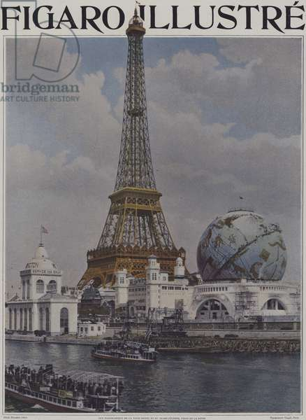 The Eiffel Tower and the Celestial Globe seen from the River Seine, Exposition Universelle 1900, Paris (colour photo)