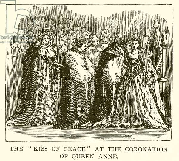 """The """"Kiss of Peace"""" at the Coronation of Queen Anne (engraving)"""