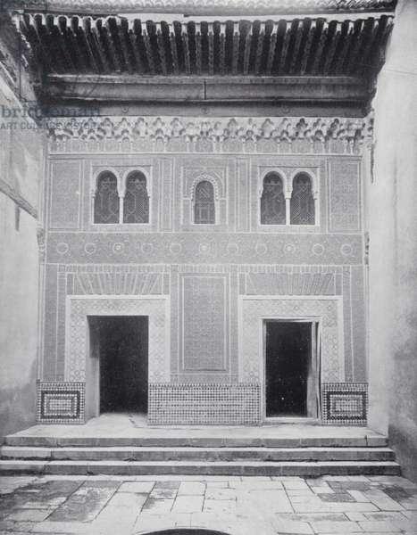 Facade in the Patio Del Mexuar, Alhambra (b/w photo)