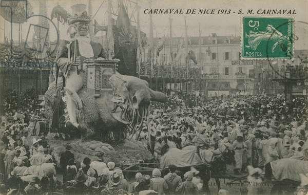 Carnaval de Nice 1913.  Postcard sent in 1913.