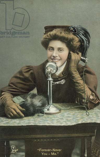Woman talking on the telephone (colour photo)
