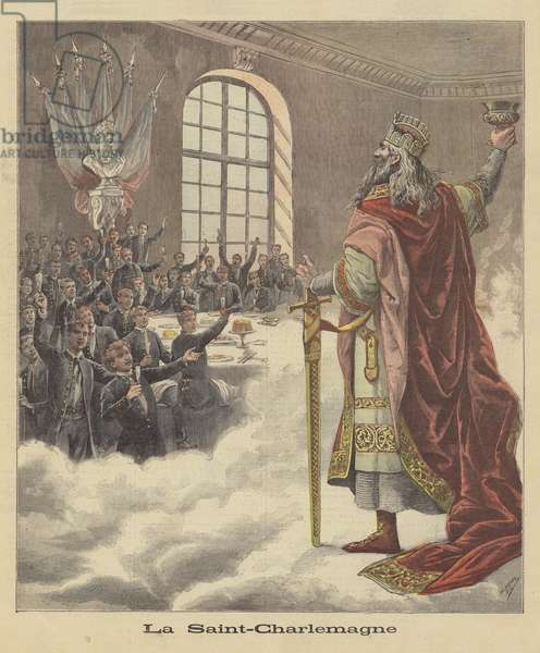 Students of the University of Paris toasting Charlemagne (colour litho)