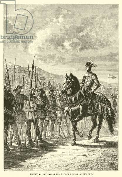Henry V reviewing his troops before Agincourt (engraving)