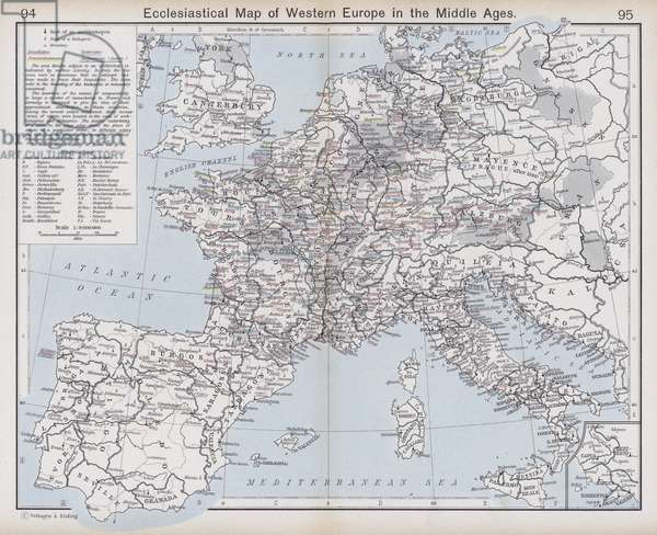 Ecclesiastical Map of Western Europe in the Middle Ages (colour litho)