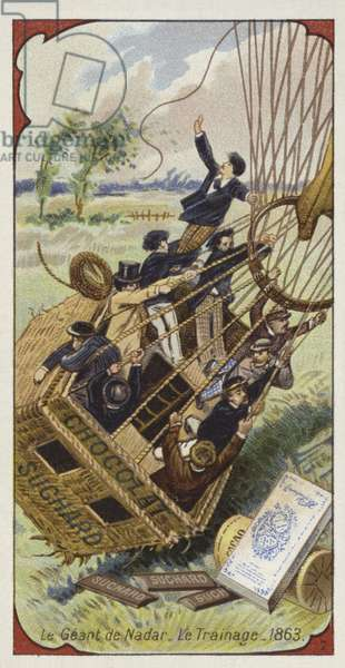 Nadar's balloon Geant dragging its basket along the ground, 1863 (chromolitho)