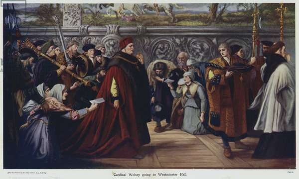 Cardinal Wolsey going to Westminster Hall (colour litho)