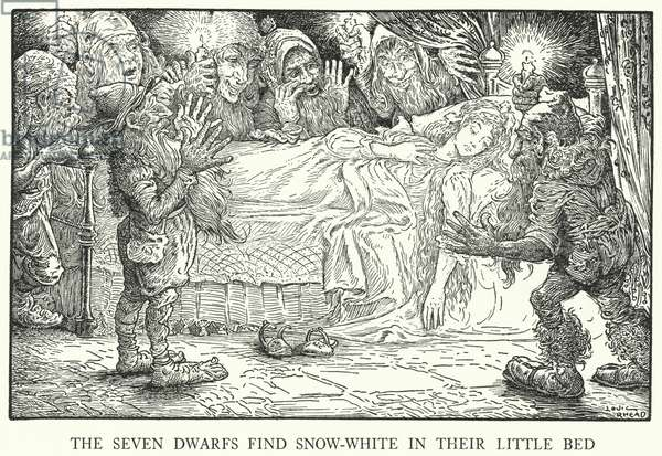 The Seven Dwarfs find Snow-White in their little bed (litho)