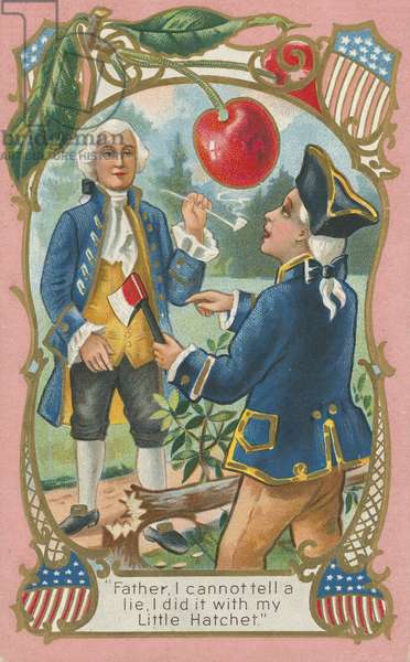George Washington confessing to his father (colour litho)