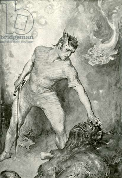 Beowulf shears off the head of Grendel (litho)