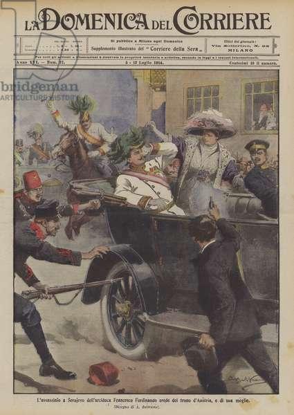 L'assassinio a Serajevo dell'arciduca Francesco Ferdinando erede del trono d'Austria, e di sua moglie (colour litho)