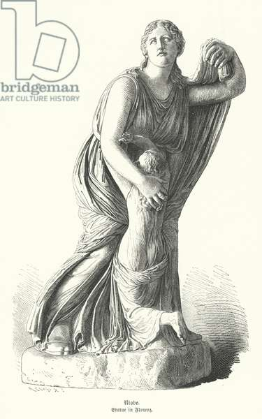 Statue of Niobe protecting one of her children from Artemis and Apollo (engraving)