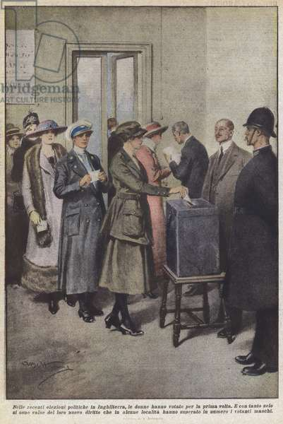 Nelle recenti elezioni politiche in Inghilterra, le donne hanno votato per la prima volta (colour litho)
