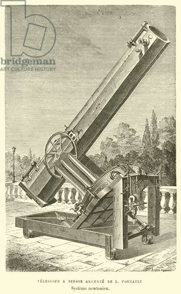 Telescope a Miroir Argente de L Foucault, Systeme newtonien (engraving)
