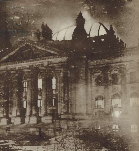 The Reichstag fire, Berlin, 1933 (b/w photo)