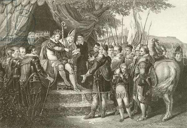 King John ratifying Magna Charta (engraving)