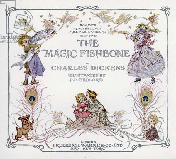 Title-page illustration for The Magic Fishbone by Charles Dickens (colour litho)
