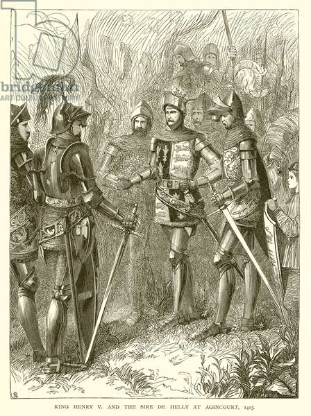 King Henry V and the Sire de Helly at Agincourt, 1415 (engraving)