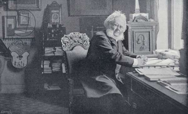 Ibsen in his Study (b/w photo)